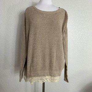 Pins and Needles Sweater Size Medium Lace Hem